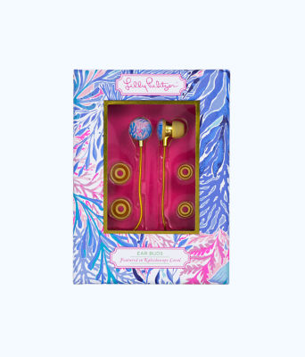 Earbuds, Crew Blue Tint Kaleidoscope Coral, large