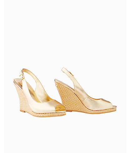 Lilly Pulitzer Womens Kristin Leather Wedge - Gold Metallic In Resort White