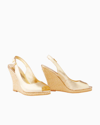 Kristin Leather Wedge - Gold Metallic, Gold Metallic, large