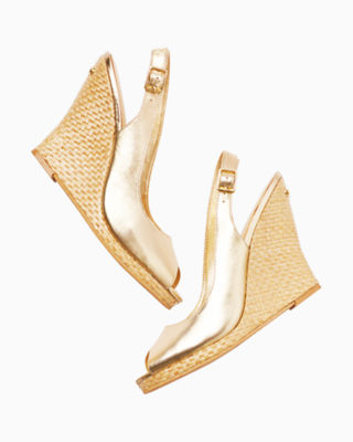 Kristin Leather Wedge - Gold Metallic, Gold Metallic, large 2