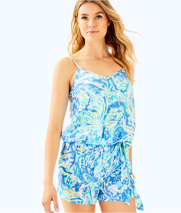 Deanna Tank Top Romper, Bennet Blue Salty Seas, large