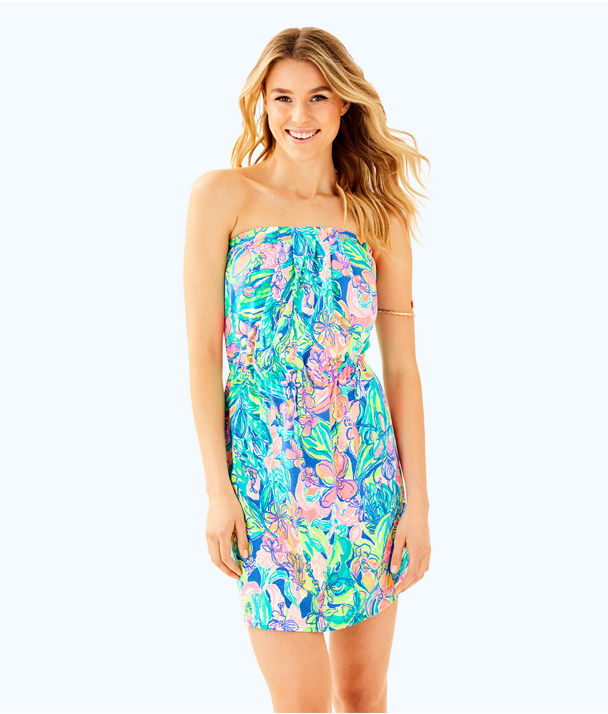 Windsor Strapless Pull-On Dress, Bennet Blue Surf Gypsea Swim, large
