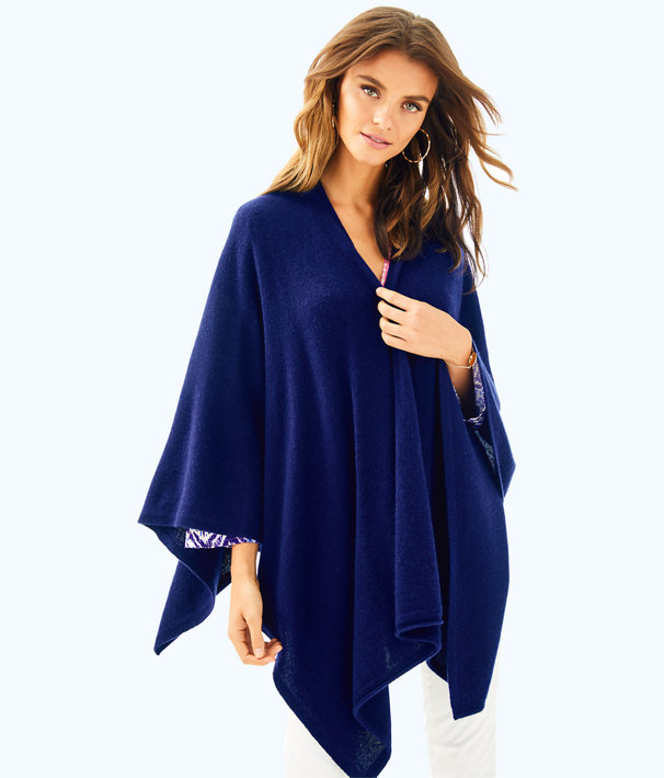 Terri Cashmere Wrap, True Navy, large