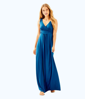 Sloane V-Neck Maxi Dress, Inky Navy, large