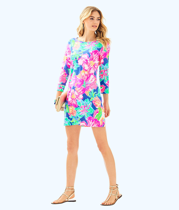 Marlowe Boatneck T-Shirt Dress, Beckon Blue Jungle Utopia, large