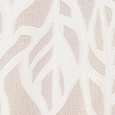 Resort White Vertical Leaf Poly Crepe Clip Jacquard