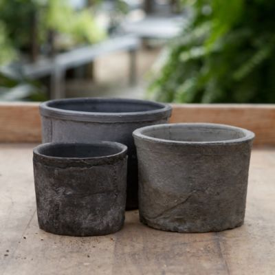 Earth Fired Clay Low Sill Pot, Slate