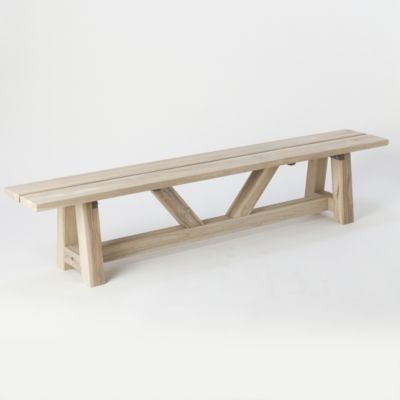 Protected Teak Braced Bench, 7'