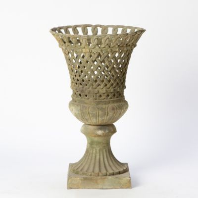 Scalloped Iron Lattice Urn