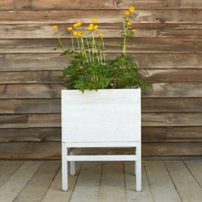 Raised Teak Cube Plant Stand