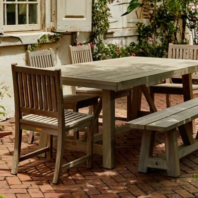 Braced Leg Teak Dining Table, 7'