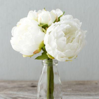 Silk Peony Bouquet, White
