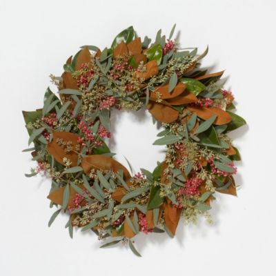 Fresh Seeded Magnolia & Berry Wreath, 20""