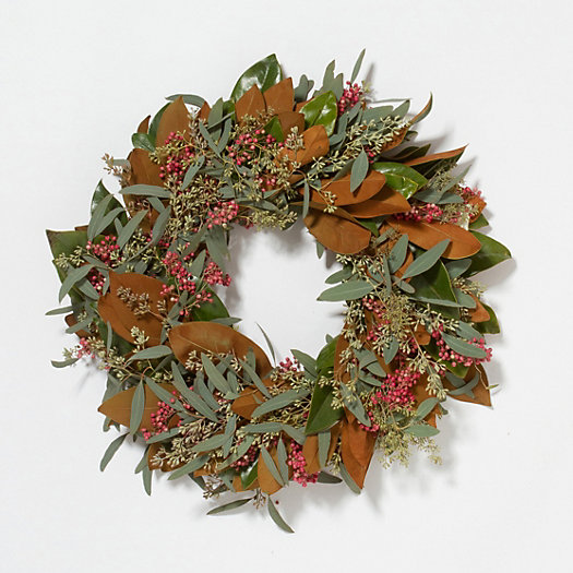View larger image of Fresh Seeded Magnolia & Berry Wreath, 20""