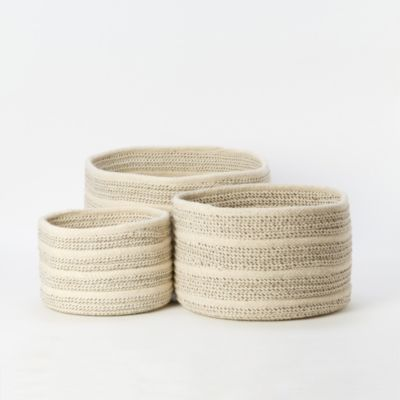 Natural Wool Basket, Striped