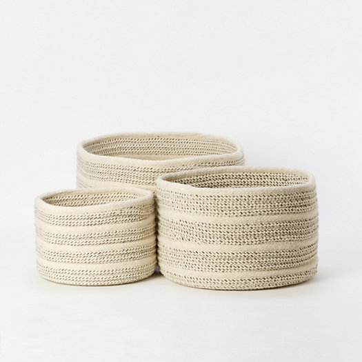 View larger image of Natural Wool Basket, Striped