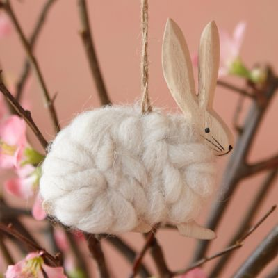 Wooly Rabbit Easter Ornament