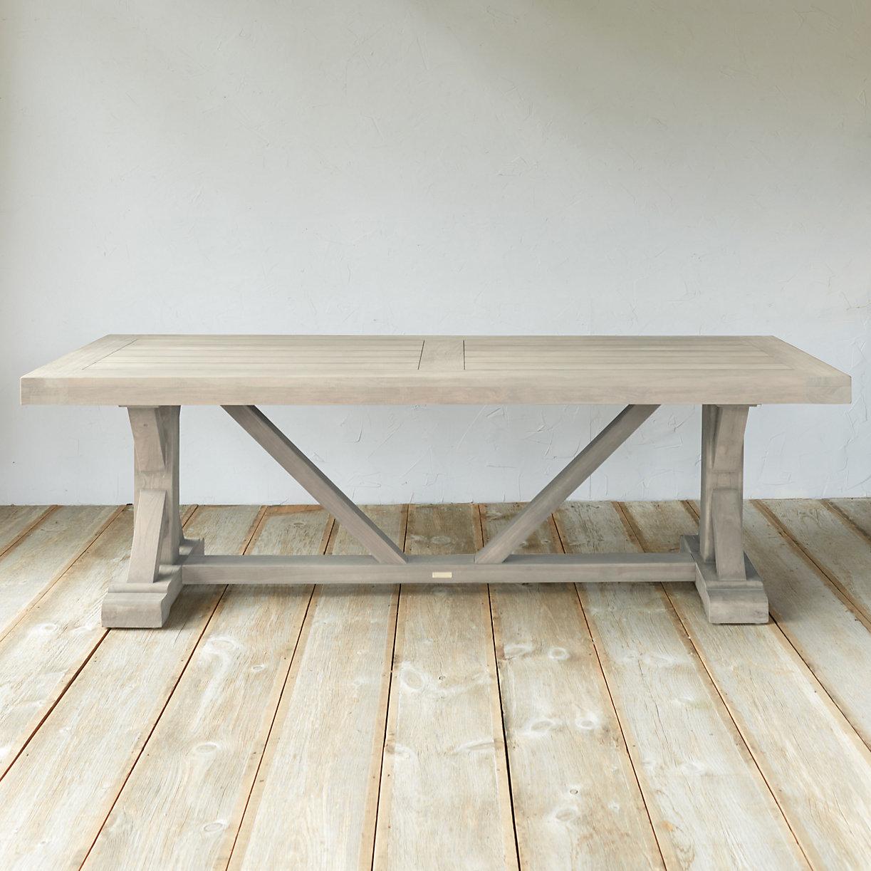 Protected Teak Trestle Dining Table 8 Terrain