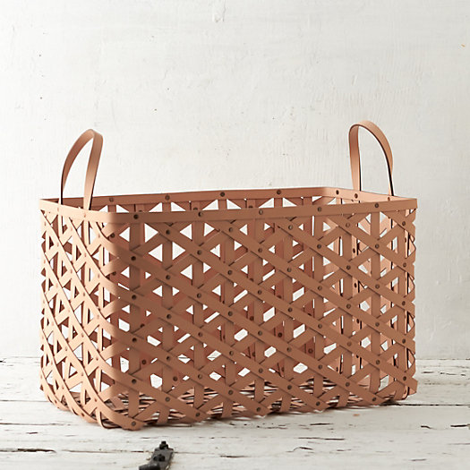 View larger image of Woven Leather Basket