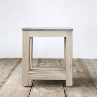 Stone & Teak End Table