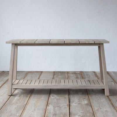 Slatted Teak Console Table