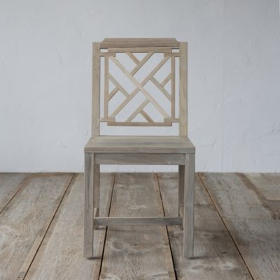 Protected Teak Lattice Side Chair