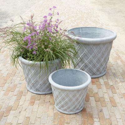 "Basketweave Fiberstone Planter, 18-29"""