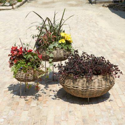"""Woven Rattan Basket Planter, 10-17"""""""