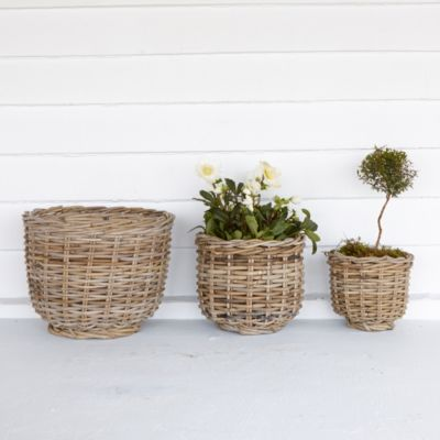 Footed Rattan Urn