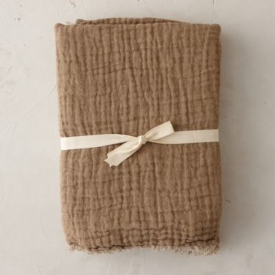 Ruched French Linen Throw