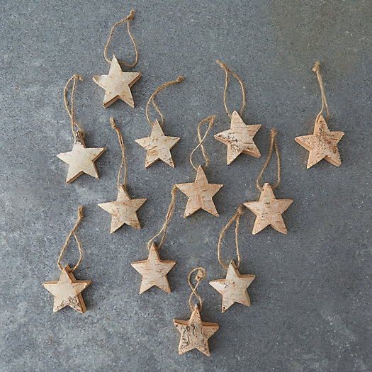 View larger image of Birch Star Ornaments, Set of 12