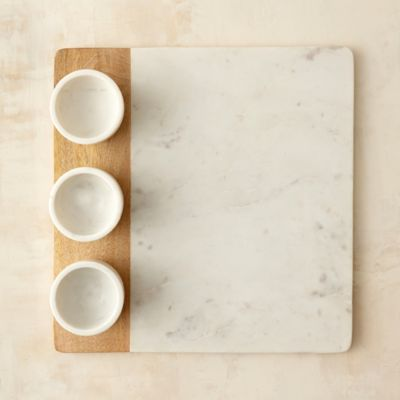 Marble & Wood Dip Trio Tray