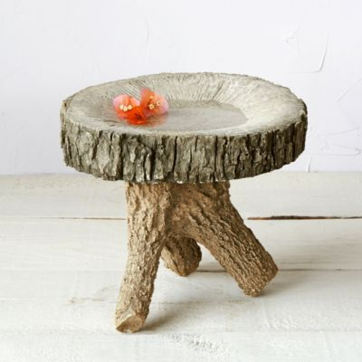 Hand-Cast Faux Bois Bird Bath