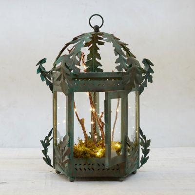 Verdigris Oak Lantern