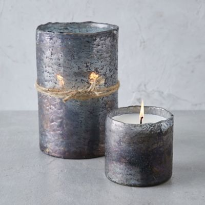 Textured Glass Candle, Tobacco Bark