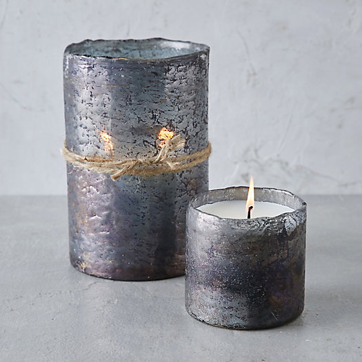 View larger image of Textured Glass Candle, Tobacco Bark