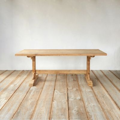 Plank Top Teak Dining Table, 7'
