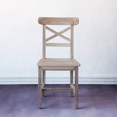 Protected Teak Crossback Side Chair