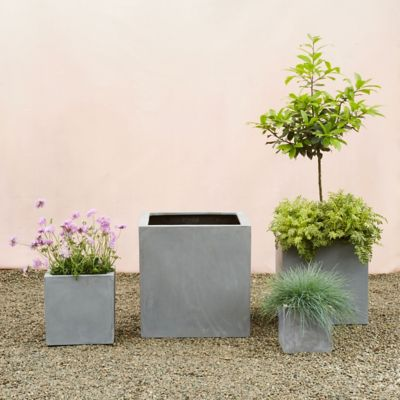 Straight Side Fiber Cube Planter