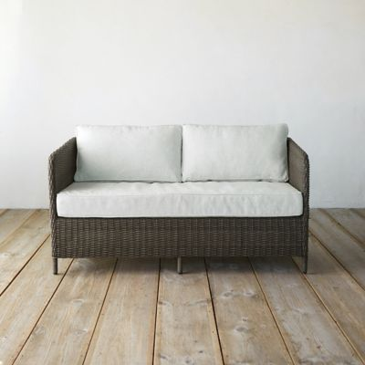 Narrow Arm All Weather Wicker Two Seat Sofa