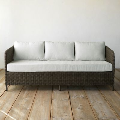 Narrow Arm All Weather Wicker Three Seat Sofa