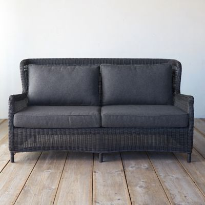 Modern Wingback All Weather Wicker Sofa