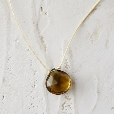 Olive Quartz Droplet Necklace