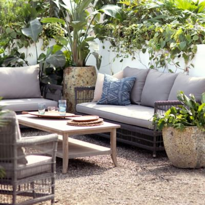 Trellis Weave All Weather Wicker Three Seat Sofa