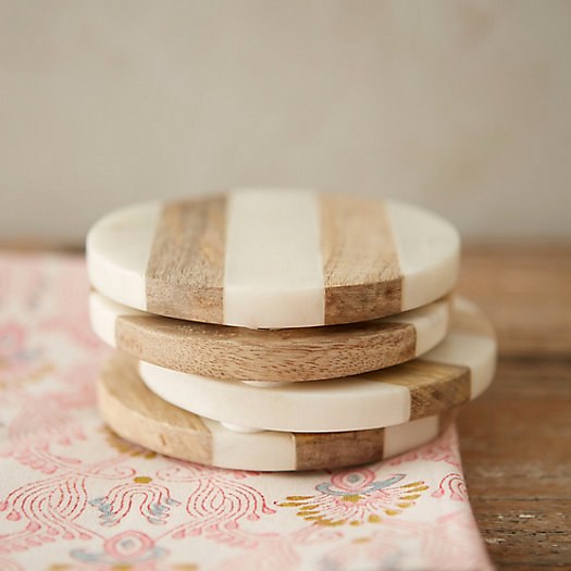 View larger image of Marble & Wood Coasters, Set of 4