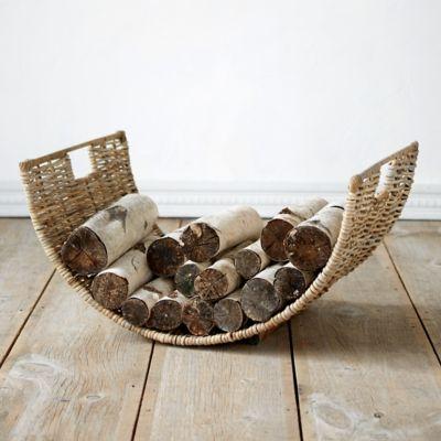 Half Moon Wicker Log Basket