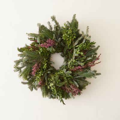 Fresh Evergreen & Heather Wreath