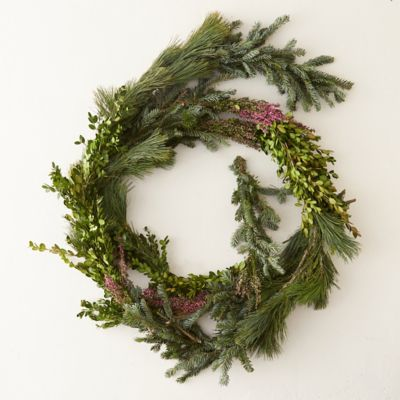 Fresh Evergreen & Heather Garland