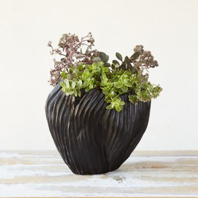 Blackened Teak Tulip Planter