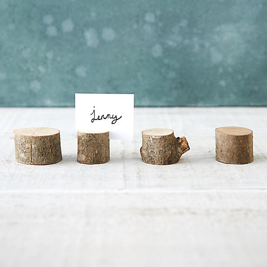View larger image of Wooden Slice Place Card Holder, Set of 4
